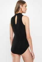 MILLA - Turtle halter bodysuit - black