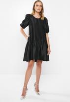 MILLA - Puff sleeve mini dress - black