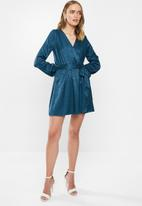 MILLA - Satin wrap mini dress - blue