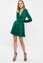 MILLA - Satin wrap mini dress - green