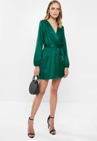 MILLA - Satin wrap mini dress - green