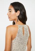VELVET - Halter sequins blouse - silver