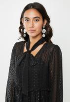 VELVET - Tiered midi dress - black