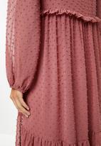 VELVET - Tiered midi dress - rose