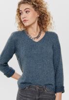 Jacqueline de Yong - Cheer long sleeve v-neck pullover - navy