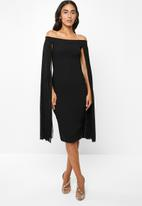 VELVET - Bardot midi bodycon - black