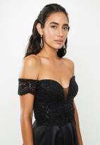 VELVET - Lace bardot maxi dress - black