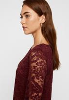 Vero Moda - Alvia long sleeve lace blouse - burgundy