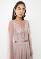 VELVET - Cape sleeve maxi dress - pink / lilac