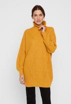 Vero Moda - Glendora siska long sleeve high neck blouse - yellow