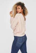 Vero Moda - Allie v-back cable blouse - light pink