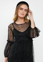 MILLA - Tulle tiered dress - black