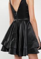 MILLA - Satin skater dress - black