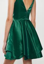 MILLA - Satin skater dress - emerald green