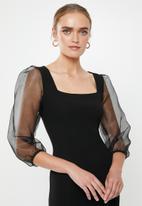 MILLA - Square neck midi dress - black
