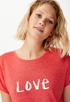 Cotton On - Dreamy sleep T-shirt love - washed red