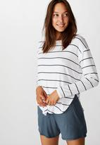 Cotton On - Sleep recovery long sleeve top - white & navy