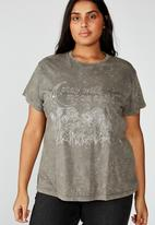 Cotton On - Curve graphic tee stay wild - grey
