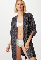 Cotton On - Satin kimono gown - tulip hearts ditsy
