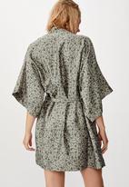 Cotton On - Satin kimono gown naïve ditsy - cool avocado
