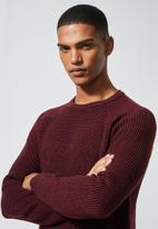 Superbalist - Textured raglan knit - burgundy