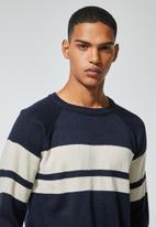 Superbalist - Lightweight stripe crew neck knit - navy & beige