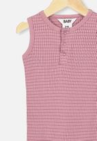 Cotton On - The sleeveless long leg rib romper - dusty berry