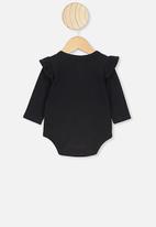 Cotton On - The long sleeve ruffle bubbysuit - black