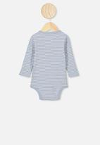 Cotton On - Long sleeve button bubbysuit - blue
