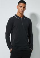 Superbalist - Pique slim fit zip golfer - black