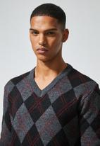 Superbalist - Argyle v-neck knit - multi
