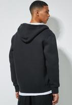 Superbalist - Sherpa lined zip through hoodie - black
