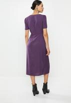 Glamorous - Button down V-neck midi dress  - purple