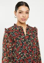 Missguided - Frill neck midi smock dress floral - multi