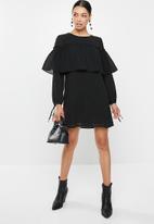 Glamorous - Ruffle overlay tunic - black