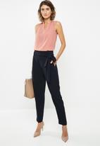 edit - Drape front sleeveless blouse - pink