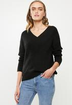 Vero Moda - Bandile long sleeve v-neck - black