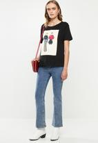 Jacqueline de Yong - Danni short sleeve print top denim - black