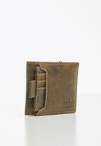 BOSSI - Leather disrch wallet - brown