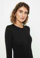 edit - Midi bodycon with long sleeves - black