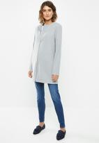 edit - Collarless coat - grey