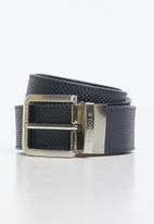 Pringle of Scotland - Austin leather reversible belt - navy & tan