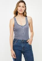 Cotton On - The long line henley tank - grey