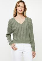 Cotton On - Textured cropped pullover - khaki