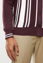 Brave Soul - Mellor full zip knitwear jumper - burgundy & white