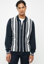 Brave Soul - Mellor full zip knitwear jumper - navy & white