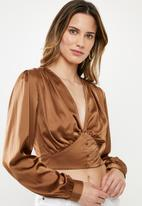 Missguided - Satin covered button corset blouse - bronze