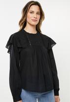 Cotton On - Lace smock blouse - black