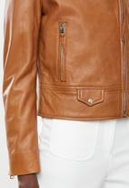 MANGO - Perfect leather biker jacket - brown