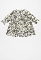 Cotton On - Molly long sleeve dress - beige & grey